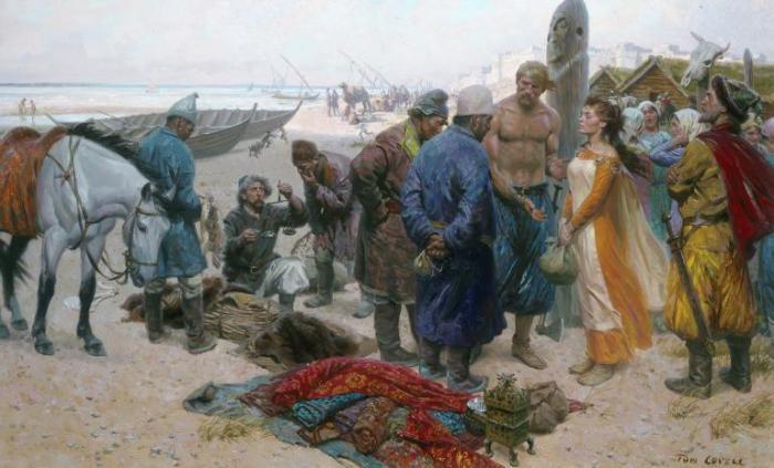 Un vikingo le ofrece una esclava a un mercader persa en el Volga. Los esclavos eran un producto tanto o más valioso que los bienes saqueados. Dibujo: Tom Lovell. Fuente: National Geographic.