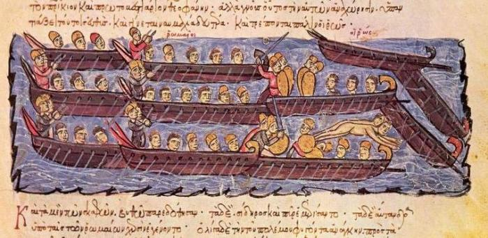 Representación del combate que libró por aquellos años (941) la flota bizantina contra los primos de los vikingos occidentales, los Rus.